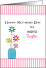 For Daughter Mother's Day Greeting Card-Smiley Faced Flowers-Vase card