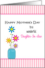 For Daughter-In-Law Mother's Day Greeting Card-Smiley Flowers-Vase card