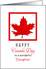 For Daughter Canada Day Greeting Card-Red Maple Leaf card