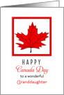 For Granddaughter Canada Day Greeting Card-Red Maple Leaf card