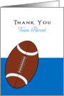 For Football Team Parent Thank You Greeting Card-Football Over Blue card