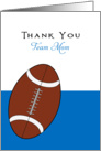 For Football Team Mom Thank You Greeting Card-Football Over Blue card