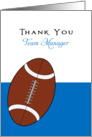 For Football Team Manager Thank You Greeting Card-Football Over Blue card