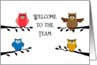 Welcome to the Team Greeting Card-Owls on Branches card