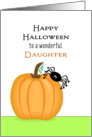 For Daughter Halloween Card with Pumpkin and Black Spider card