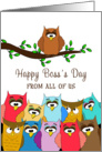 For Boss From All Of Us Boss's Day Card - Group of Owls card