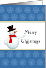 General Christmas Card with Snowman-Snowflake Design-Merry Christmas card