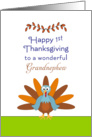 For Grandnephew First Thanksgiving Card-Turkey and Leaf Border card