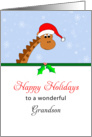 For Grandson Christmas Card-Giraffe Wearing Santa Hat-Happy Holidays card