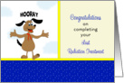Last Radiation Treatment Card - Happy Dog with Arms Up-Hooray card
