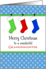For Granddaughter Christmas Card-Christmas Stockings & Snowflakes card