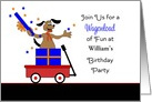 Custom Birthday Party Invitation-Dog in Present-Red Wagon-Stars card