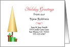 Our New Address Christmas Card-Customizable-Christmas Tree-Presents card