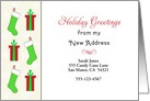 My New Address Christmas Card-Customizable-Stockings & Presents card