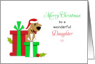 For Daughter Christmas Card-Brown Dog-Santa Hat-Christmas Presents card