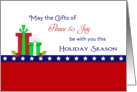Patriotic Christmas Card-Peace & Joy-Christmas Presents & Stars card