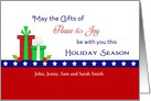 Patriotic Christmas Card - Custom - Peace-Joy-Christmas Presents-Stars card