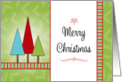 Christmas Card with Christmas Trees-Merry Christmas and Stripes card