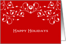 General Christmas Card-Happy Holidays-Swirls & Swooshes-Red Background card