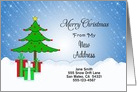 My New Address Christmas Card-Customizable-Christmas Tree & Presents card