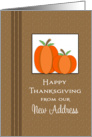 Our New Address Thanksgiving Card-Customizable Text-Two Pumpkins card