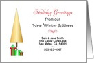 Our New Winter Address Christmas Card-Custom-Christmas Tree-Presents card