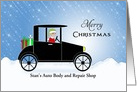 From Auto Mechanic Christmas Card-Customizable Text-Elf-Presents card