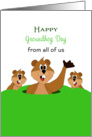 From all of Us - Groundhog Day Card - Three Groundhogs - Woodchucks card