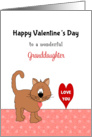 For Granddaughter Valentine's Day Card-Brown Cat with Red Heart card