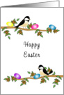 Happy Easter Greeting Card-Chickadees Sitting on Tree Branch card