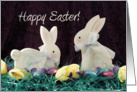 Happy Easter Greeting Card with Two Bunnies-Rabbits card