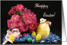 General Easter Card with Daisies-Bunny on Easter Egg-Chicks card