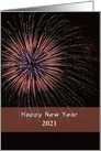 Business New Year Greeting Card-Red Fireworks-Customizable Date card