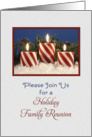 Christmas Family Reunion Party Invitation - Candy Cane Candles card