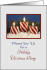 Christmas Holiday Party Invitation - Candy Cane Candles card