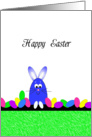 Happy Easter Greeting Card-Blue Easter Bunny and Easter Eggs card