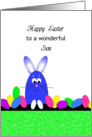 For Son Happy Easter Greeting Card-Blue Bunny and Easter Eggs card