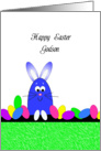 For Godson Happy Easter Greeting Card-Easter Bunny and Easter Eggs card