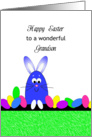 For Grandson Happy Easter Greeting Card-Blue Bunny and Easter Eggs card