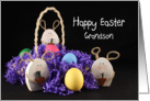 For Grandson Happy Easter Greeting Card-Easter Eggs & Bunny Rabbits card