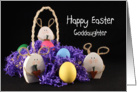 For Goddaughter Happy Easter Greeting Card-Easter Bunnies and Eggs card