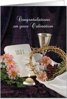 Ordination Greeting Card with White Bible-Crown of Thorns-Chalice card