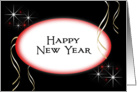 Business New Year Card-Red Oval-Happy New Year card