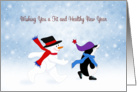 Fitness Healthy New Year Card-Snowman and Penguin Walking card
