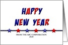 Patriotic Business Happy New Year Card-Customizable Text card