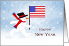 From Business New Year Card with Patriotic Snowman-Flag-Snow Scene card