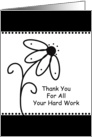 For Employee Business Thank You Greeting Card-Black Flower Design card