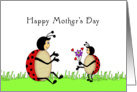 Mother's Day Greeting Card with Mother and Baby Lady Bugs & Flower card