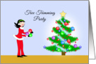 Christmas Tree Trimming Party Invitation Ornaments Retro Girl and Tree card
