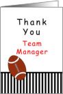For Football Team Manager Thank You Greeting Card-Football, Stripes card